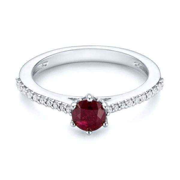 Platinum Platinum Ruby And Diamond Ring - Flat View -  104586