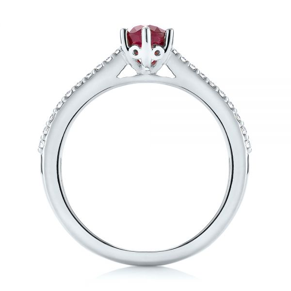 Platinum Platinum Ruby And Diamond Ring - Front View -  104586