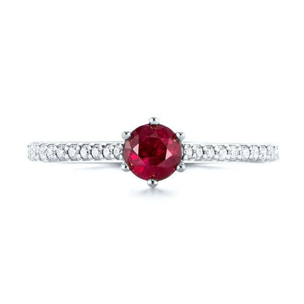 Platinum Platinum Ruby And Diamond Ring - Top View -  104586