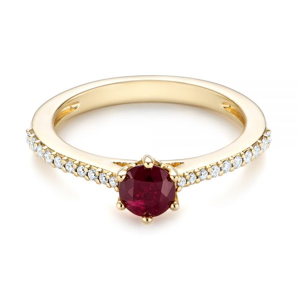 14k Yellow Gold Ruby And Diamond Ring - Flat View -  104586