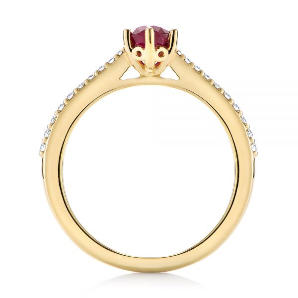 14k Yellow Gold Ruby And Diamond Ring - Front View -  104586
