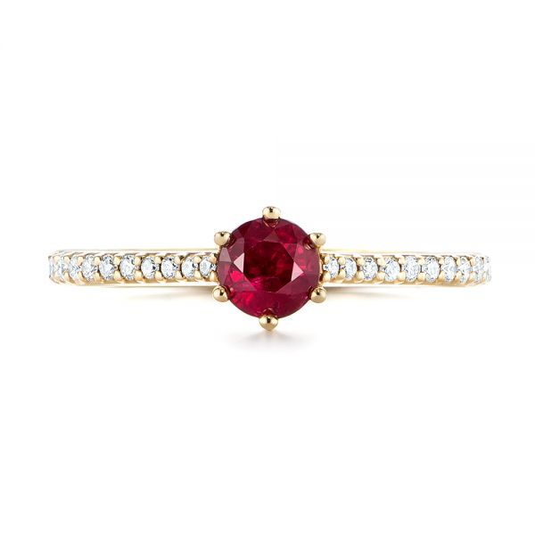 14k Yellow Gold Ruby And Diamond Ring - Top View -  104586