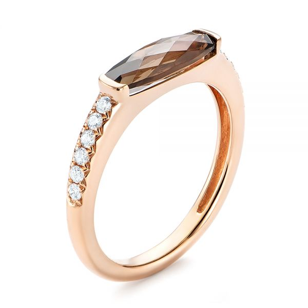 14k Rose Gold Smokey Quartz And Diamond Stackable Ring - Three-Quarter View -