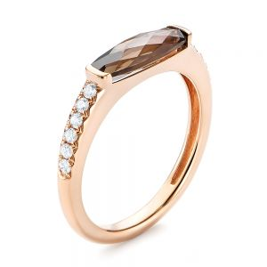 Smokey Quartz and Diamond Stackable Ring - Image