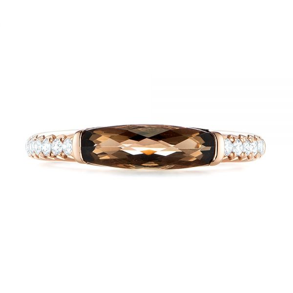 14k Rose Gold Smokey Quartz And Diamond Stackable Ring - Top View -