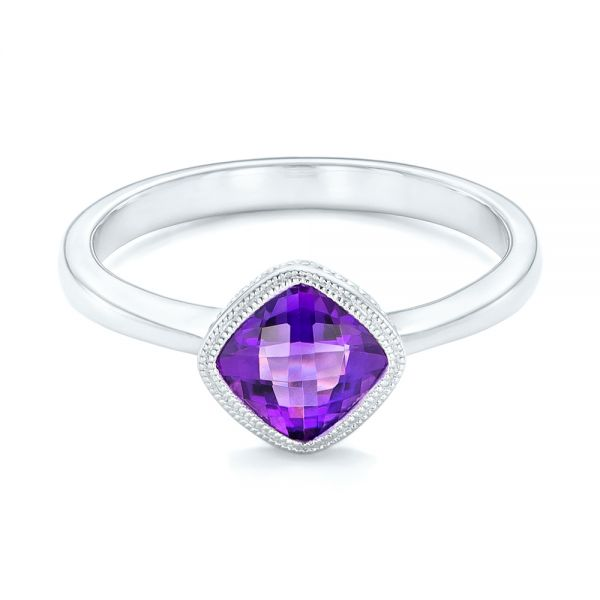 Solitaire Amethyst Ring - Flat View -  102649 - Thumbnail