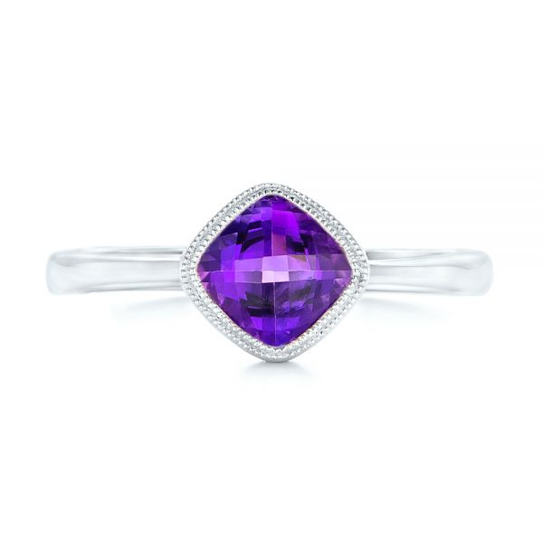 Solitaire Amethyst Ring - Top View -  102649 - Thumbnail