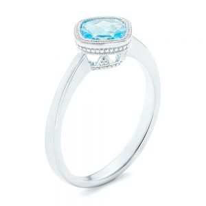 Solitaire Blue Topaz Ring - Image