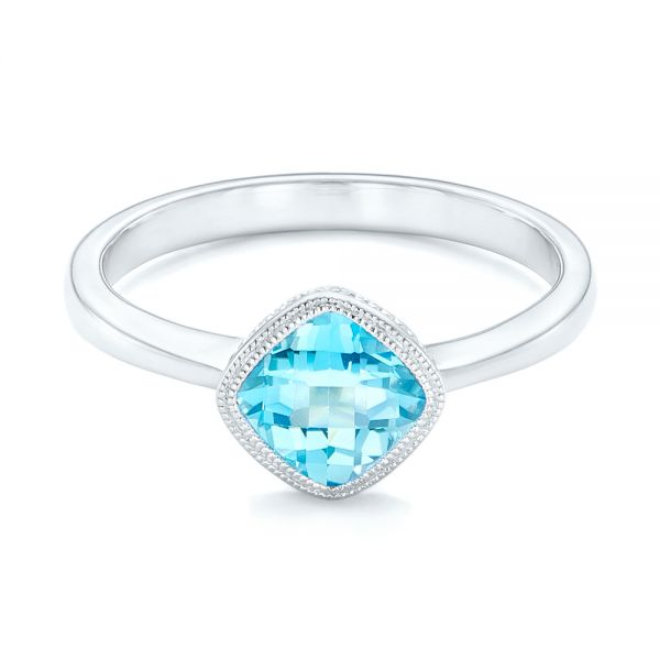 Solitaire Blue Topaz Ring - Flat View -  102616 - Thumbnail