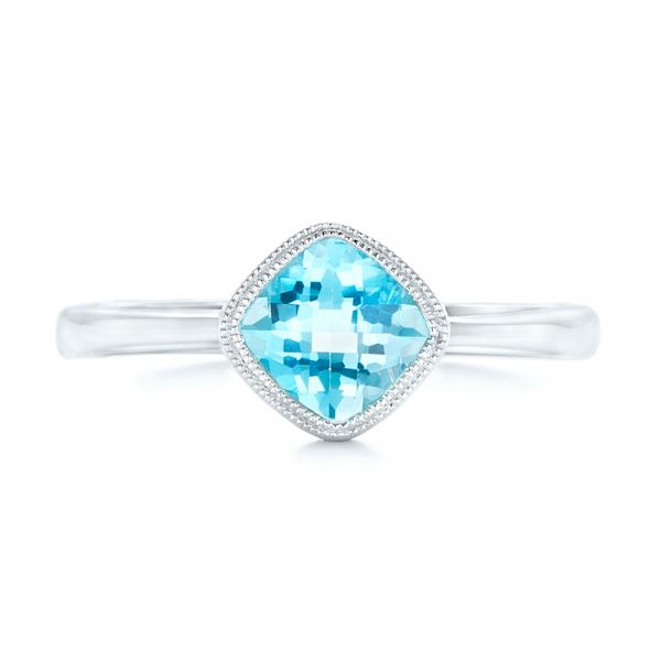 Solitaire Blue Topaz Ring - Top View -  102616 - Thumbnail