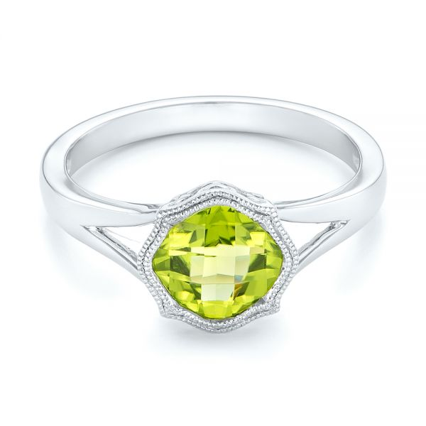 14k White Gold Solitaire Peridot Ring - Flat View -  102635