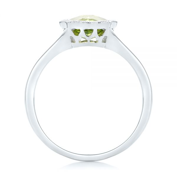 14k White Gold Solitaire Peridot Ring - Front View -  102635