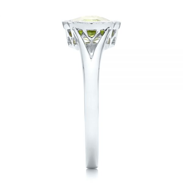 14k White Gold Solitaire Peridot Ring - Side View -  102635