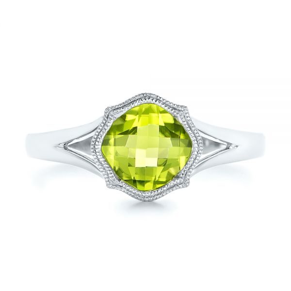 14k White Gold Solitaire Peridot Ring - Top View -  102635