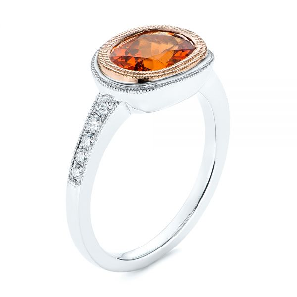 Spessartite Garnet and Diamond Bezel Ring - Image