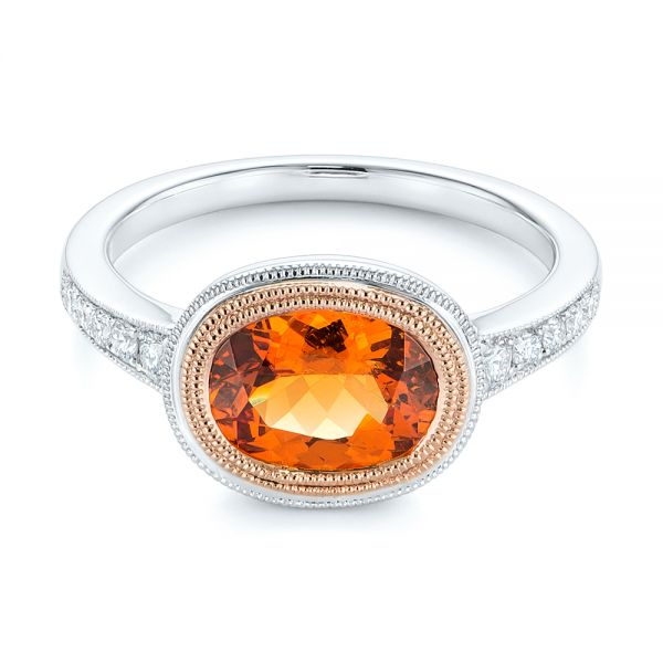 Spessartite Garnet and Diamond Bezel Ring