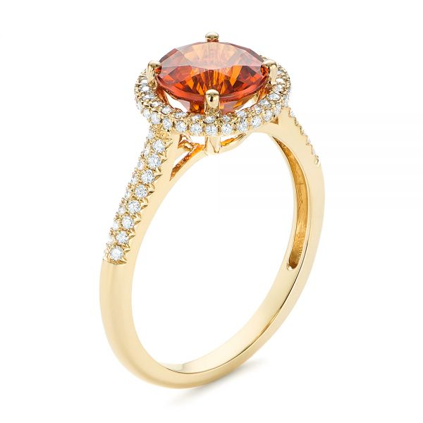 Spessartite Garnet and Diamond Halo Ring - Image