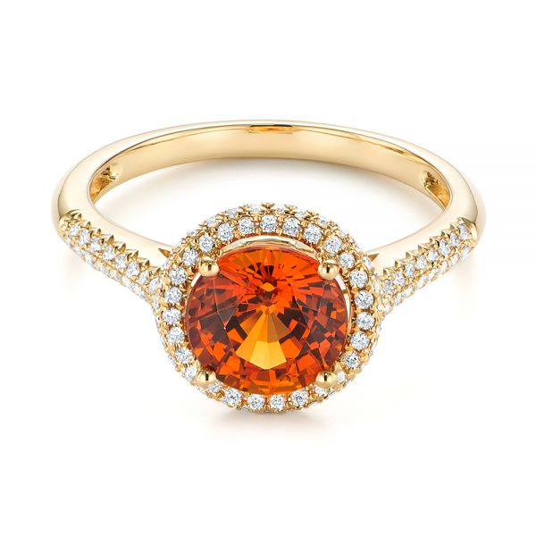 Spessartite Garnet and Diamond Halo Ring - Flat View -  105016 - Thumbnail