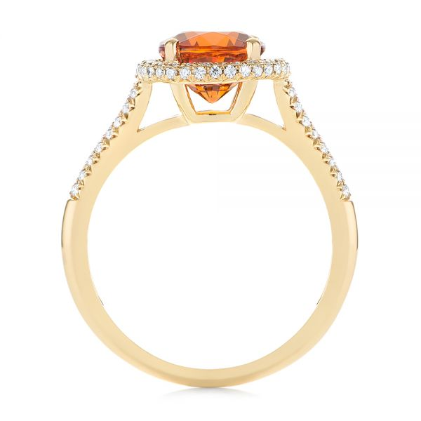 Spessartite Garnet and Diamond Halo Ring - Front View -  105016 - Thumbnail