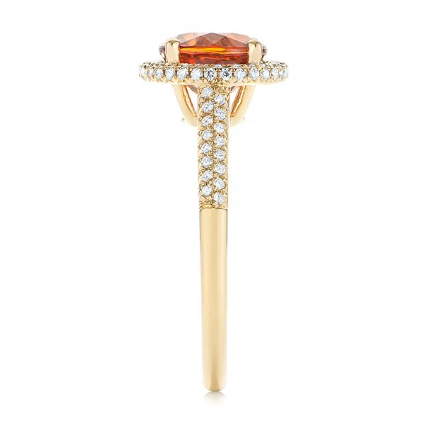 Spessartite Garnet and Diamond Halo Ring - Side View -  105016 - Thumbnail