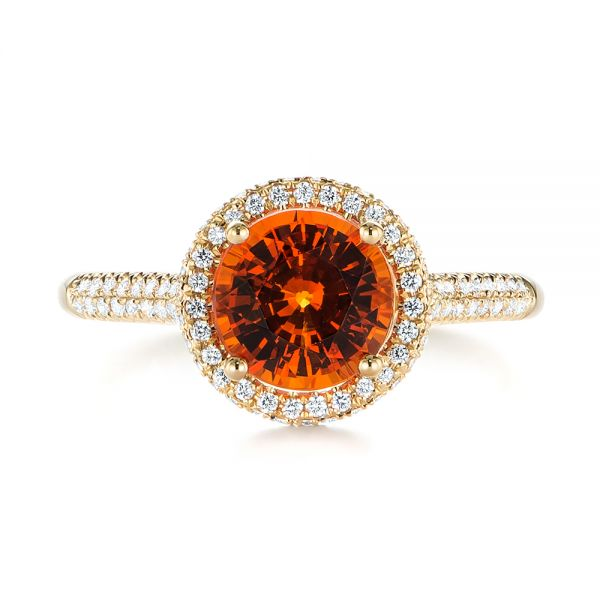 Spessartite Garnet and Diamond Halo Ring - Top View -  105016 - Thumbnail