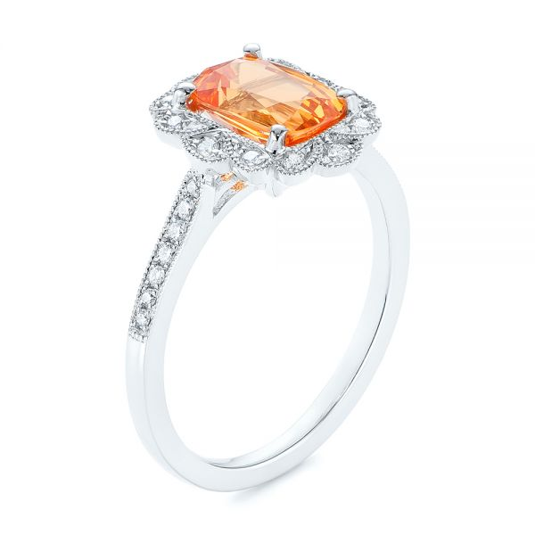 Spessartite Garnet and Floral Diamond Halo Ring - Image