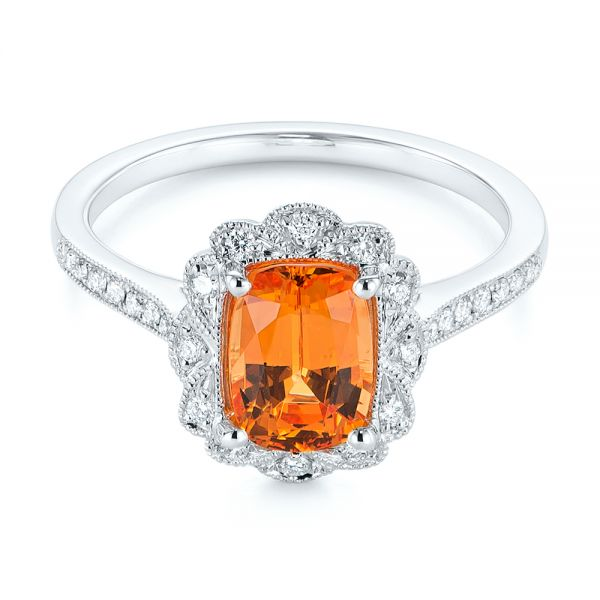 Spessartite Garnet and Floral Diamond Halo Ring