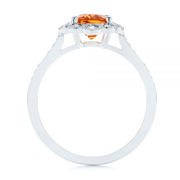 Spessartite Garnet and Floral Diamond Halo Ring - Front View -  105019 - Thumbnail
