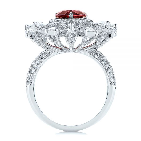 18k White Gold Starburst Diamond And Ruby Fashion Ring - Front View -