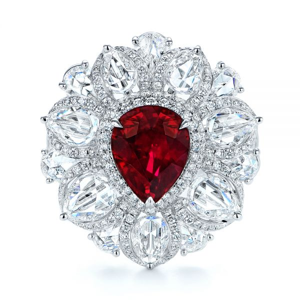 18k White Gold Starburst Diamond And Ruby Fashion Ring - Top View -