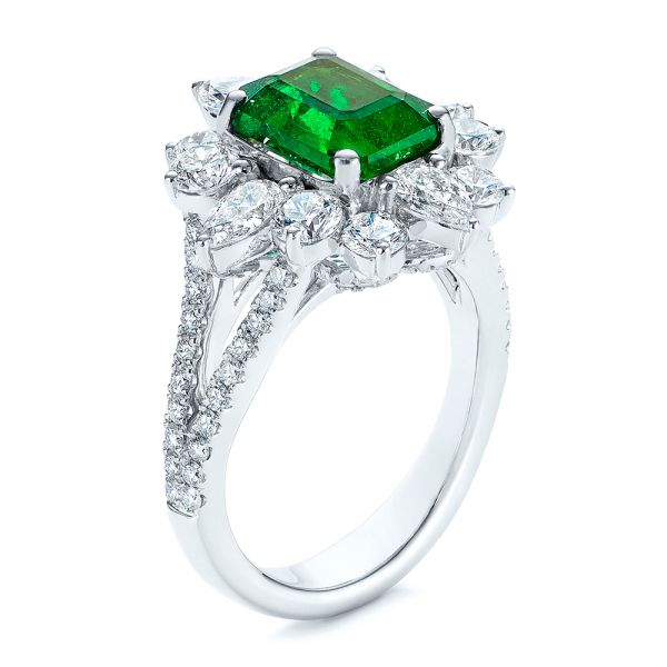 Starburst Emerald and Diamond Fashion Ring - Image