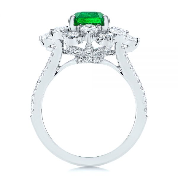 18k White Gold Starburst Emerald And Diamond Fashion Ring - Front View -