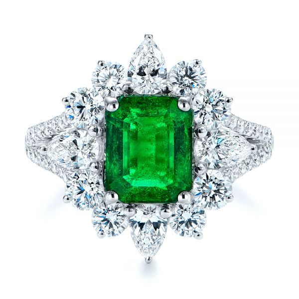 18k White Gold Starburst Emerald And Diamond Fashion Ring - Top View -