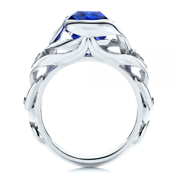 Platinum Tanzanite And Blue Sapphire Fashion Ring - Front View -  106147