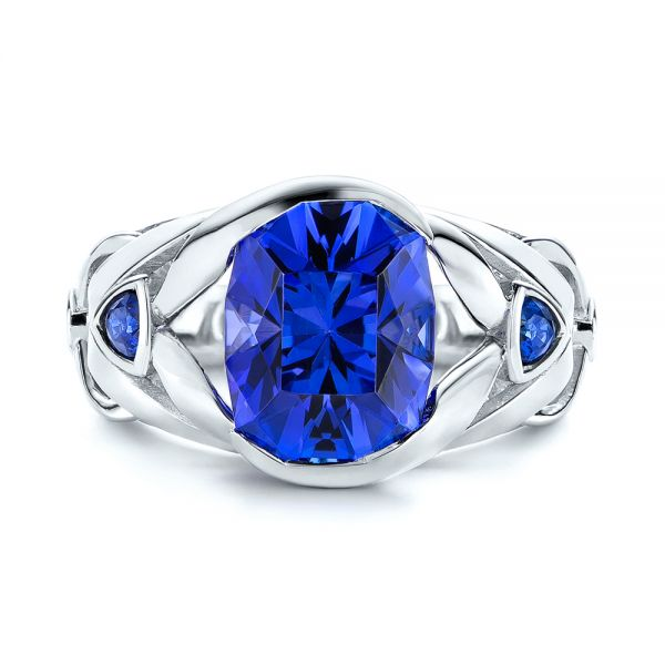 Platinum Tanzanite And Blue Sapphire Fashion Ring - Top View -  106147