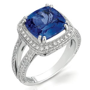 Tanzanite and Pave Diamond Ring - Vanna K