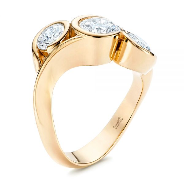 Three Stone Wrapped Diamond Ring - Image