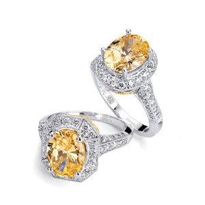 Yellow Diamond Halo Ring