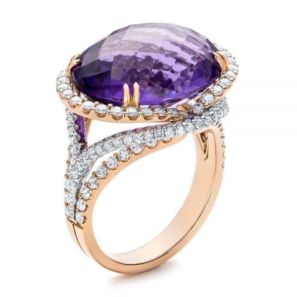 Two-Tone Amethyst and Diamond Halo Fashion Ring - Vanna K - Image