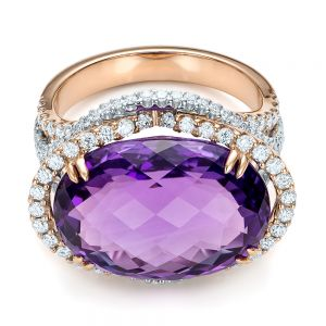 Two-Tone Amethyst and Diamond Halo Fashion Ring - Vanna K