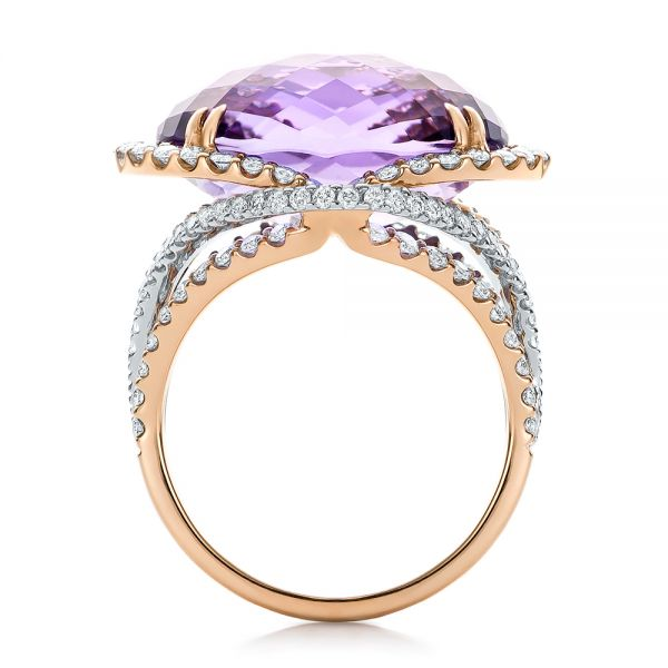 Two-Tone Amethyst and Diamond Halo Fashion Ring - Vanna K - Front View -  101855 - Thumbnail
