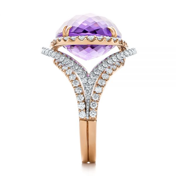 Two-Tone Amethyst and Diamond Halo Fashion Ring - Vanna K - Side View -  101855 - Thumbnail