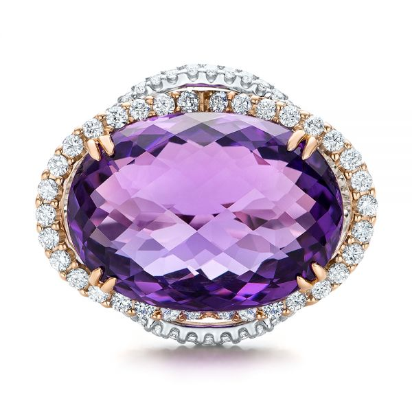 Two-Tone Amethyst and Diamond Halo Fashion Ring - Vanna K - Top View -  101855 - Thumbnail