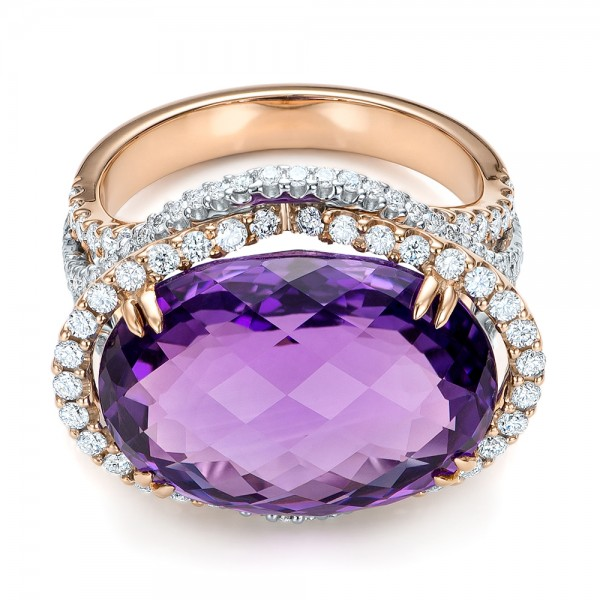 Two-Tone Amethyst and Diamond Halo Fashion Ring - Vanna K - Flat View -  101855 - Thumbnail