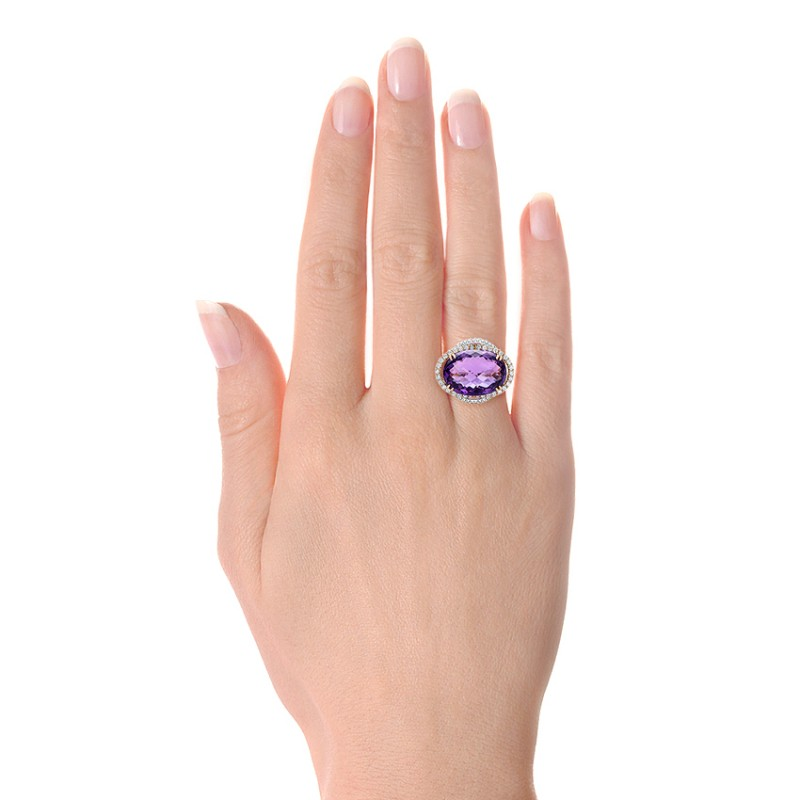 Two-Tone Amethyst and Diamond Halo Fashion Ring - Vanna K - Hand View -  101855 - Thumbnail