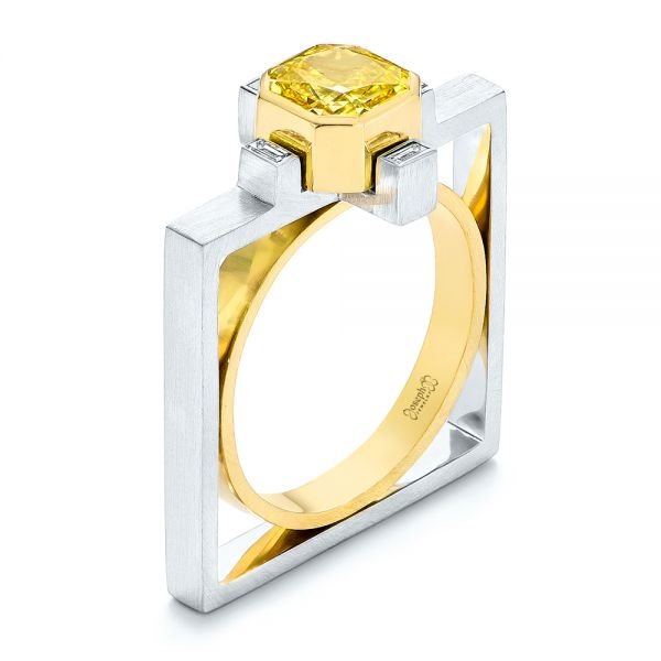 Two-Tone Yellow and White Diamond Fashion Ring - Image