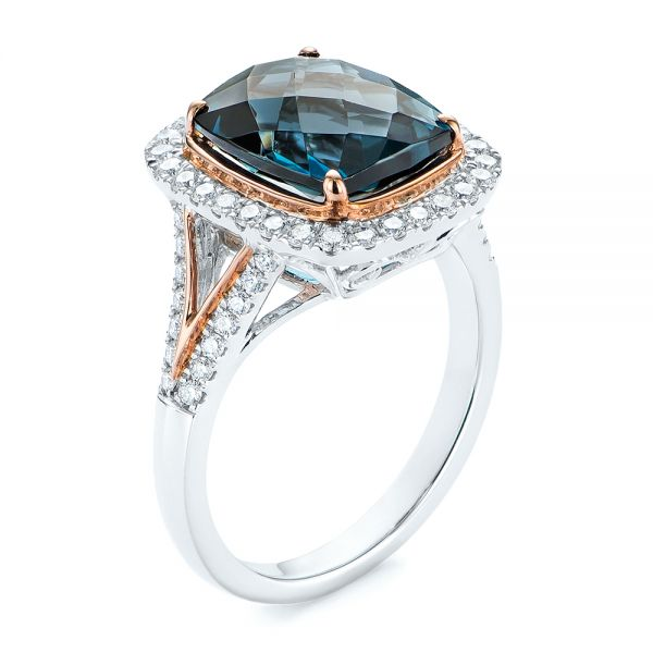 Two-tone London Blue Topaz and Diamond Ring - Image