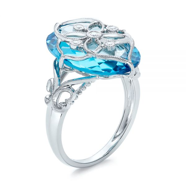 Vintage Filigree Blue Topaz Fashion Ring - Vanna K - Image