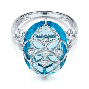 Vintage Filigree Blue Topaz Fashion Ring - Vanna K