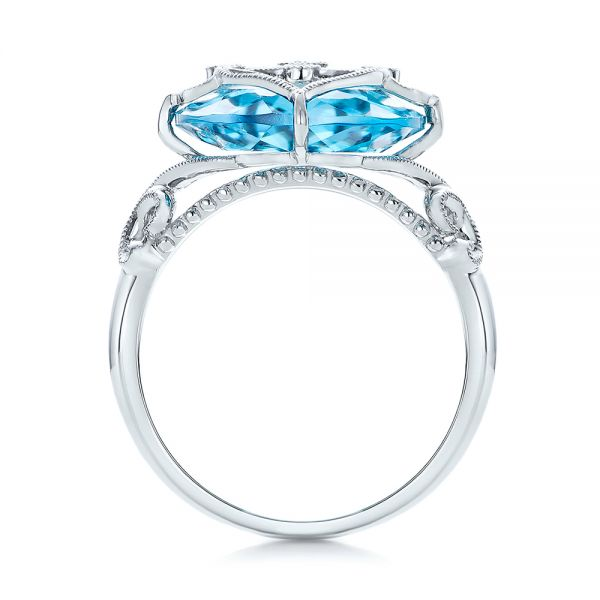 Vintage Filigree Blue Topaz Fashion Ring - Vanna K - Front View -  101858